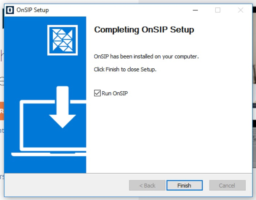 OnSIP app for Windows - Setup Complete
