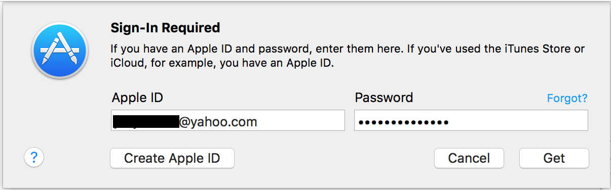 Enter your App Store user credentials again