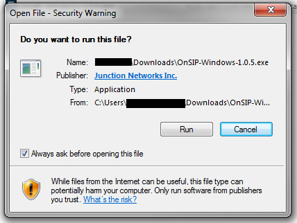 OnSIP app for Windows - Run File