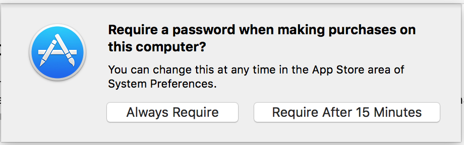 Mac App Store password prompt