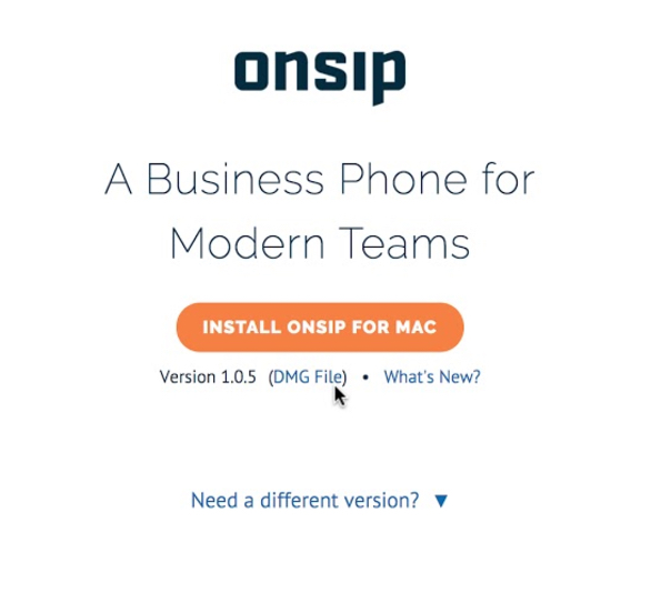 DMG file link on the OnSIP app download page