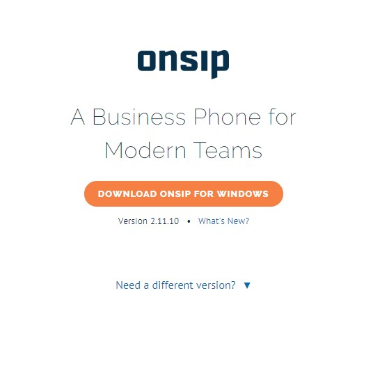 OnSIP app login page for Windows
