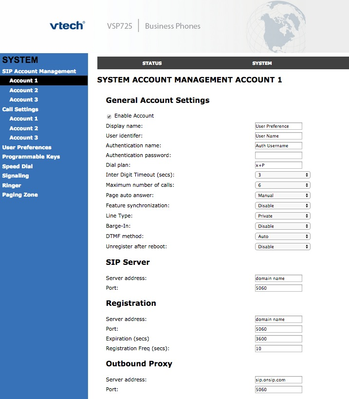 System account management