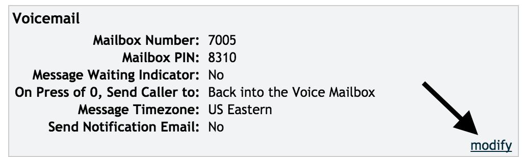 Modify the voicemail box button