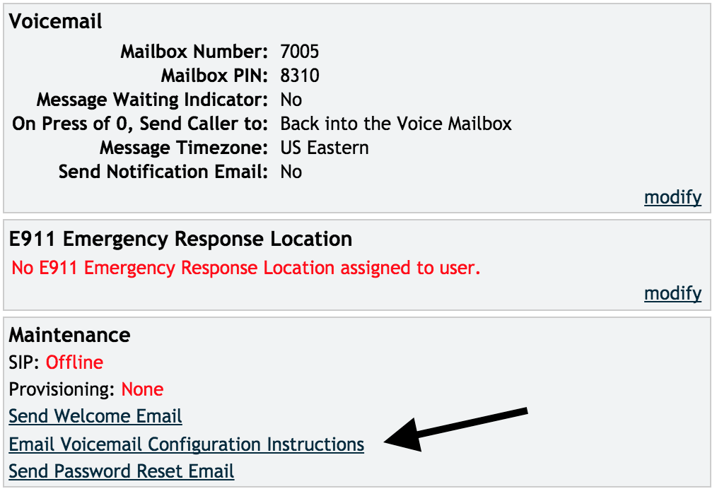 Email Voicemail Configuration Instructions link