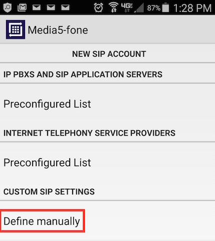 New SIP account define manually