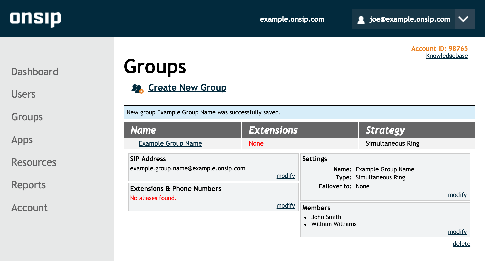 Screenshot of Group Details and Modify Group in the OnSIP admin portal.