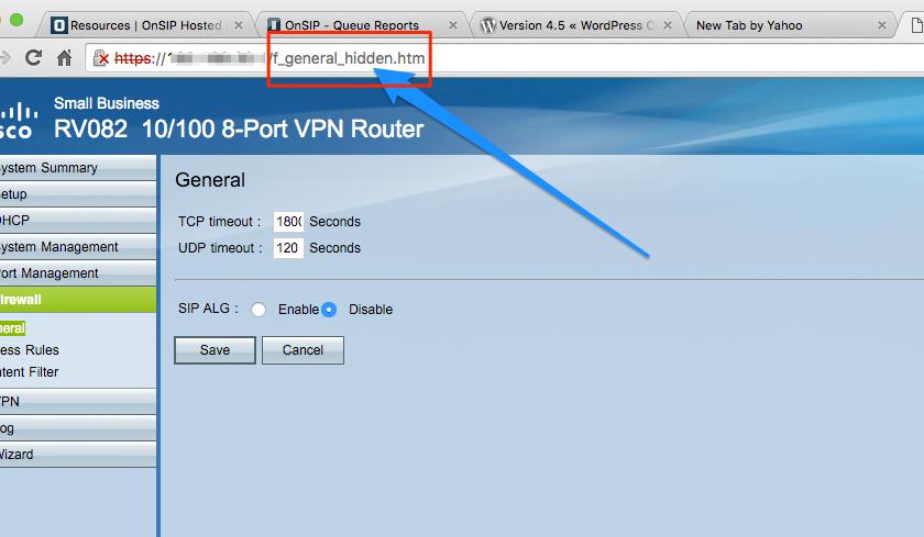 Cisco/Linksys RV042/RV082 or RVxxx Hidden UDP Timeout