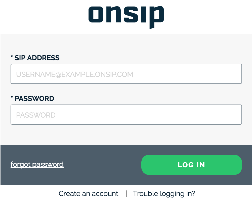 Login page for the OnSIP app