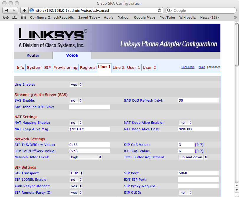 Linksys configuration line 1