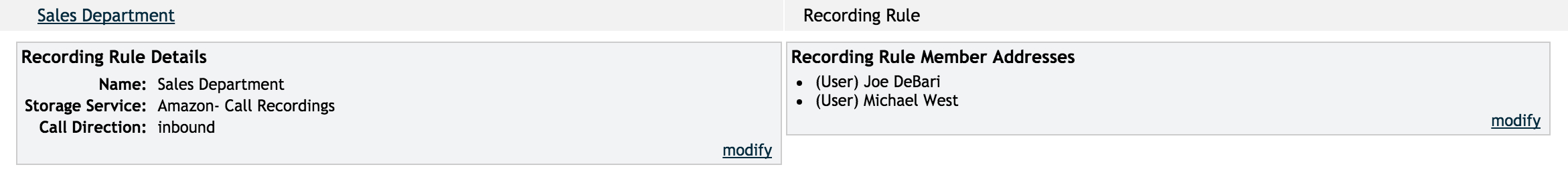 Editing a Call Recording Rule in your OnSIP account