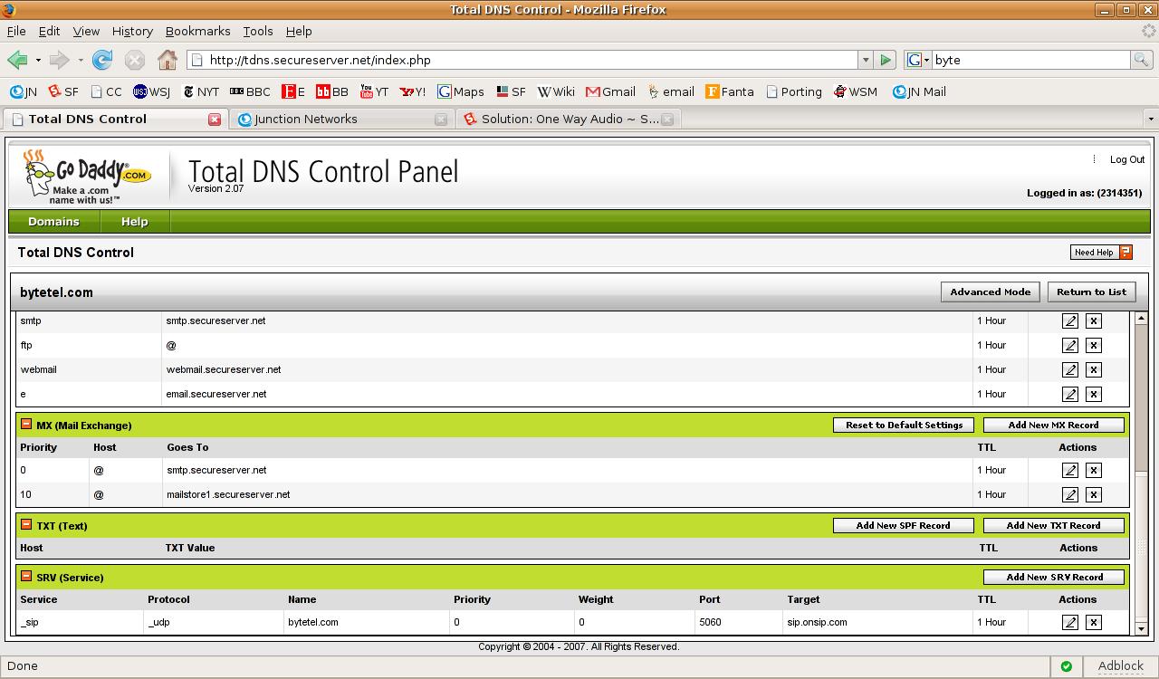 Godaddy.com - Modifying DNS SRV records – OnSIP Support