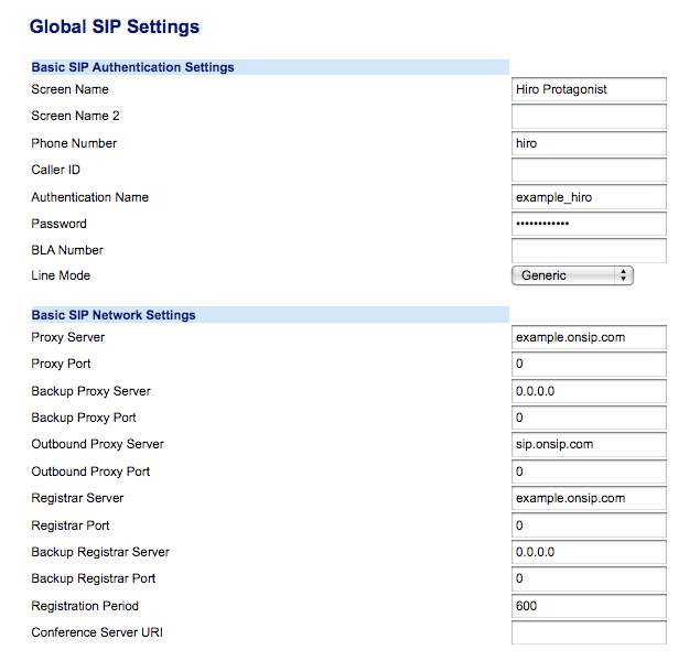 Global SIP settings