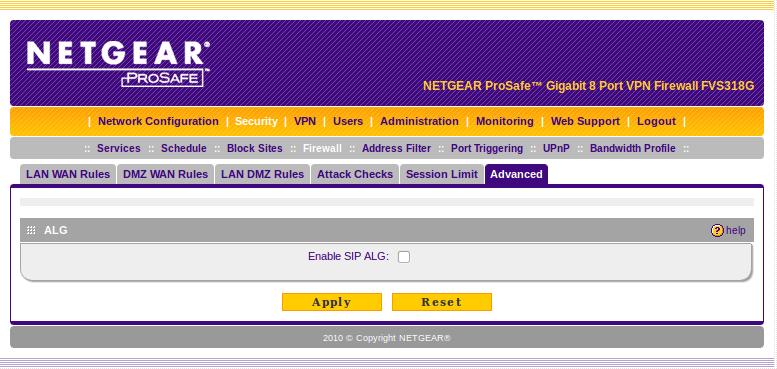 Netgear Prosafe FVS318G – OnSIP Support