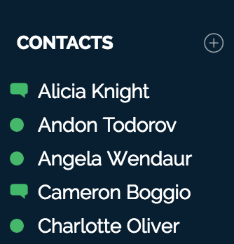Contacts list in the OnSIP app